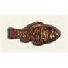 Glass Bead Fish 28x13mm Amethyst Gold Strung